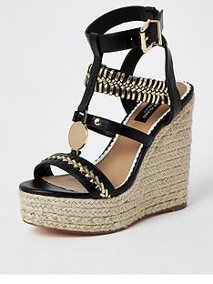 river-island-wide-fit-stitch-detail-platform-wedge-sandals-black
