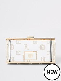 river-island-monogram-print-cliptop-purse-beige
