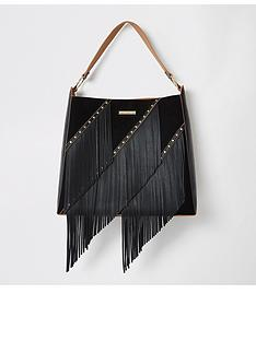 river-island-fringe-tassel-slouch-bag-black