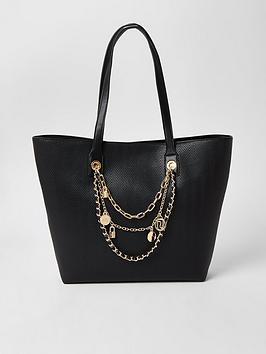 River Island River Island Layered Chain Embellished Shopper Bag - Black Picture
