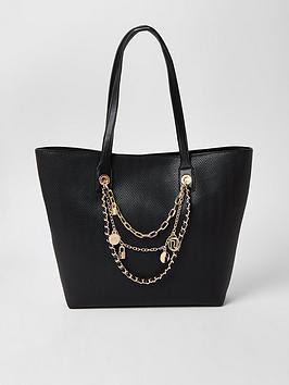 River Island River Island Layered Chain Embellished Shopper Bag - Black Picture