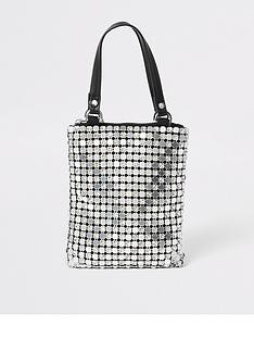 river-island-chainmail-diamante-grab-handle-bag-silver