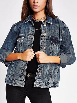 River Island River Island Oversized Denim Jacket - Mid Authentic Picture