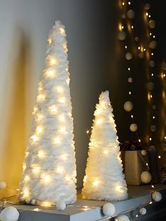 set-of-2-pre-lit-faux-fur-cone-christmas-decorations