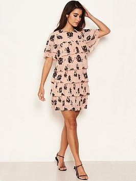 ax-paris-pink-chiffon-tiered-dress
