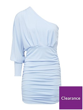 ax-paris-petite-petite-one-sleeve-ruched-dress-blue