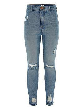 River Island River Island Girls Kaia High Rise Ripped Skinny Jeans - Blue Picture