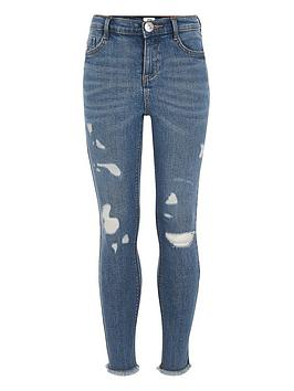 River Island River Island Girls Amelie High Rise Skinny Jeans - Blue Picture