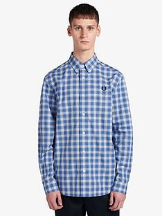 fred-perry-small-check-shirt-blue
