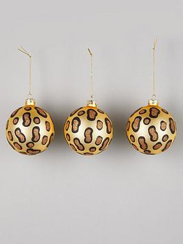 gisela-graham-set-of-3-leopard-print-glass-christmas-treenbspbaubles