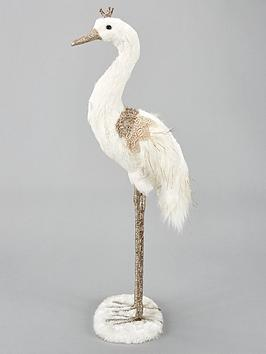 gisela-graham-fabric-feather-crane-christmas-decoration