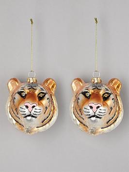 gisela-graham-set-of-2-glass-tiger-head-christmas-treenbspdecorations