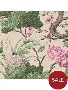 woodchip-magnolia-crane-bird-rose-pink-cream-wallpaper