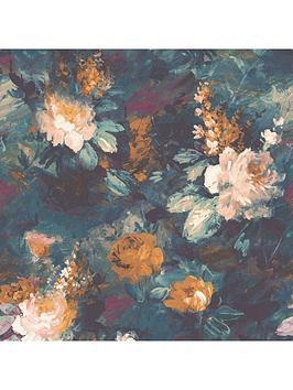 Woodchip & Magnolia Woodchip & Magnolia Ava Marika Teal Wallpaper Picture