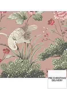 woodchip-magnolia-crane-bird-vintage-pink-wallpaper