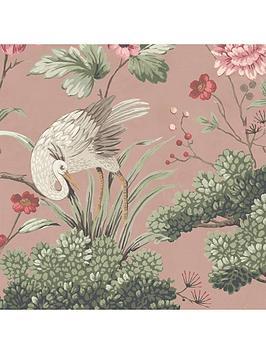 Woodchip & Magnolia Woodchip & Magnolia Crane Bird Vintage Pink Wallpaper Picture