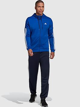 adidas-3-stripe-hooded-tracksuit-blue