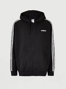 adidas-plus-size-essential-3-stripe-full-zip-hoodie-black