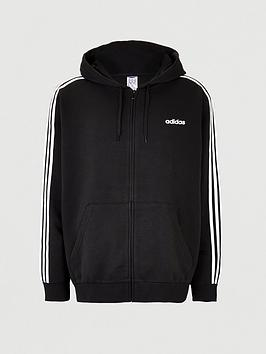 adidas-plus-size-essential-3-stripe-full-zip-hoodie-black