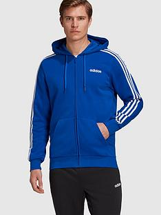 adidas-essential-3-stripe-full-zip-hoodie-bluenbsp