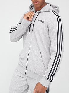adidas-essential-3-stripe-full-zip-hoodie-medium-grey-heather