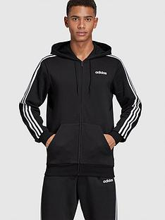 adidas-essential-3-stripe-full-zip-hoodie-black