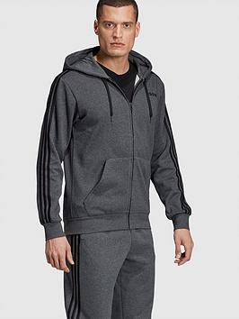 adidas-essential-3-stripe-full-zip-hoodie-grey-heather