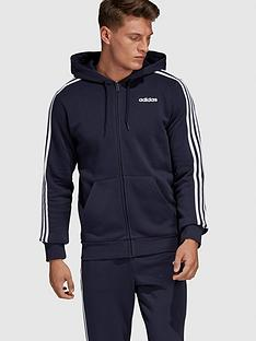 adidas-essential-3-stripe-full-zip-hoodie-blacknbsp
