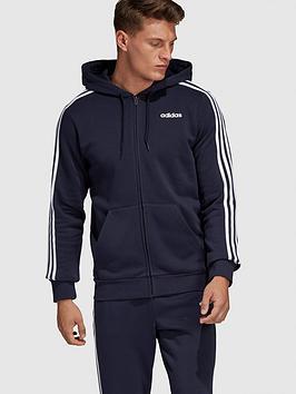 adidas-essential-3-stripe-full-zip-hoodie-blacknbsp