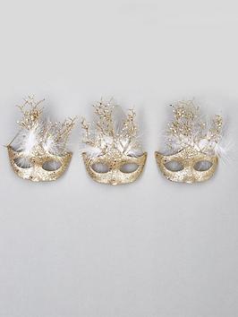 set-of-3-masquerade-hanging-christmas-tree-decorations-ndash-gold