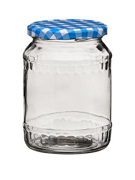 Premier Housewares Premier Housewares Blue Gingham Jar Picture