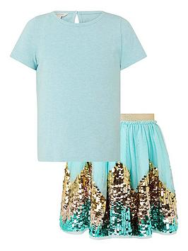 Monsoon Monsoon Girls Disco Freya Skirt With Top - Aqua Picture