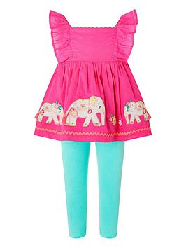 Monsoon Monsoon Baby Girls 2 Piece Nelly Top And Leggings Set - Pink Picture