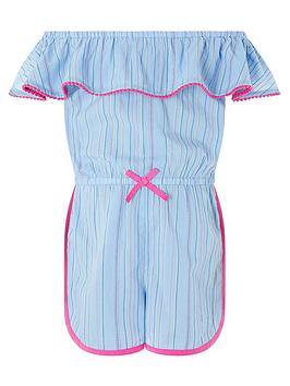 Monsoon Monsoon Girls Bella Chambray Playsuit - Blue Picture
