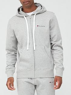 champion-small-logo-full-zip-hoodie-grey-marl