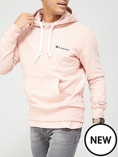 champion-small-logo-overhead-hoodie-pink