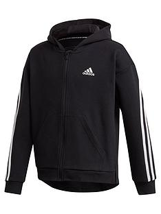 adidas-girls-3-stripes-full-zip-hoodie-black
