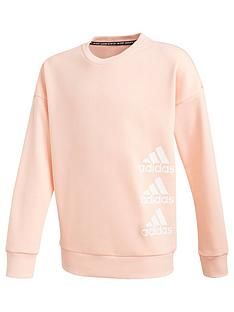adidas-junior-girls-crew-neck-sweat-top-coral