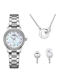 rotary-exclusive-mother-of-pearl-and-swarovski-date-dial-stainless-steel-bracelet-ladies-watch-with-necklace-and-earrings-gift-set