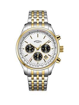 rotary-exclusive-rotary-silver-sunray-with-gold-and-black-detail-chronograph-dial-two-tone-stainless-steel-bracelet-mens-watch