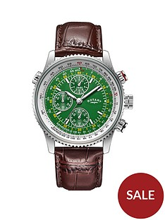 rotary-exclusive-rotary-green-and-silver-detail-chronograph-dial-brown-leather-strap-mens-watch