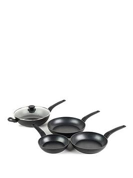 Salter 4 Piece Marble Gold Non-Stick Frying Pan And Wok Pan Set