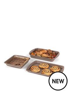 salter-carbon-steel-matte-metallic-non-stick-26cm-rectangular-baking-pan-38cm-roasting-tray-and-38cm-baking-tray