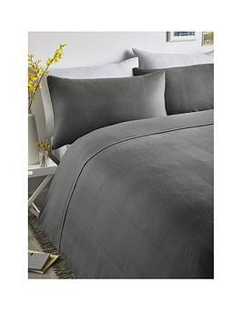 Serene Serene Waffle Stripe Duvet Cover Set - Grey Picture