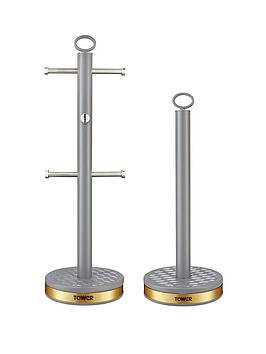 Tower Tower Empire 6-Cup Mug Tree And Towel Pole Set &Ndash; Grey Picture