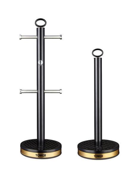 tower-empire-6-cup-mug-tree-and-towel-pole-set-ndash-black