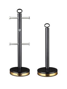 Tower Tower Empire 6-Cup Mug Tree And Towel Pole Set &Ndash; Black Picture