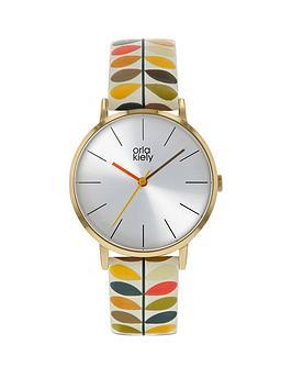 Orla Kiely Orla Kiely Silver Sunray Dial Multi Colour Stem Print Leather Strap Watch