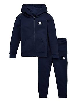 River Island River Island Boys Zip Through Hoodie And Jog Pant Set-Navy Picture