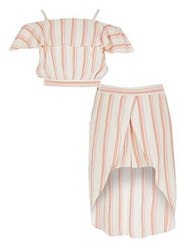 River Island River Island Girls Stripe Frill Crop And Skort Set - Pink Picture